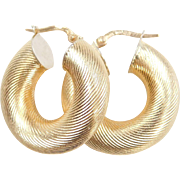 Vintage 18k Gold Wide Tube Hoop Earrings