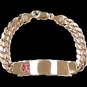 """Vintage 14k Gold Men's Medical Alert ID Bracelet ~ 8"""" ~ 23.8 Grams"""