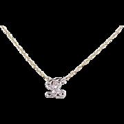 """Vintage 14k Gold Two-Tone Diamond Letter L Necklace ~ 16"""""""