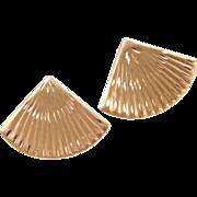 Vintage 14k Gold Fan Stud Earrings