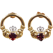 Vintage 10k Gold Garnet and Diamond Claddagh Stud Earrings ~ Two-Tone
