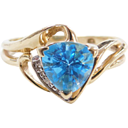 Vintage 10k Gold Two-Tone Blue Topaz and Diamond Ring