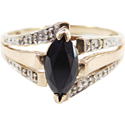 Vintage 10k Gold Two-Tone Onyx and Diamond Ring