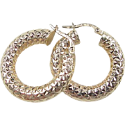 Vintage 14k Gold Diamond Cut Hoop Earrings