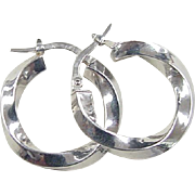 Vintage 14k White Gold Twisted Hoop Earrings