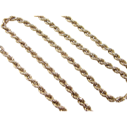 "Vintage 14k Gold Rope Chain ~ 18"" ~ 8.8 Grams"