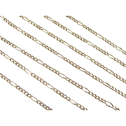 "Vintage 14k Gold LONG Figaro Link Chain 28 1/2"" ~ 4.7 Grams"