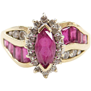 Vintage 14k Gold Two-Tone Created Ruby and Diamond Ring