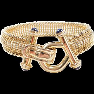 "Vintage 14k Gold Bracelet with Sapphire Accents ~ 7"""