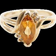 Vintage 14k Gold Citrine and Diamond Ring