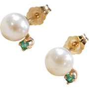 Vintage 14k Gold Cultured Pearl and Emerald Stud Earrings