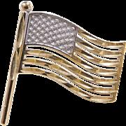 Vintage 10k Gold American Flag Tie Tack / Pin