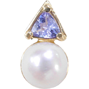 Vintage 14k Gold Iolite and Cultured Pearl Pendant