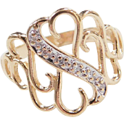 Vintage 14k Gold Two-Tone Diamond Heart Ring