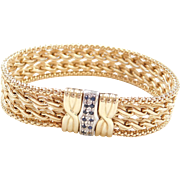 Vintage 14k Gold Two-Tone Wide Woven Bracelet with Sapphire Clasp