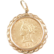 1898 10 Dollar 22k Gold Liberty Head Coin Pendant ~ 10k Gold Bezel