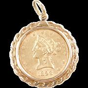 1898 10 Dollar 22k Gold Liberty Head Coin Pendant ~ 10k Gold Bezel
