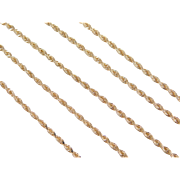 "Vintage 14k Gold Diamond Cut Rope Chain ~ 18"" ~ 3.9 Grams"