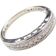 Vintage 10k White Gold .20 ctw Diamond MOM Band Ring