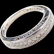 Vintage 10k White Gold .20 ctw Diamond MOM Band Ring