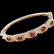 Victorian Revival 14k Gold Red Glass Hinged Bangle Bracelet
