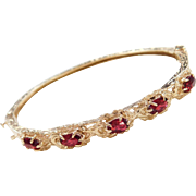 Victorian Revival 14k Gold Red Glass Hinged Bangle Bracelet