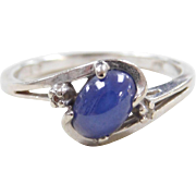 Vintage 10k White Gold Blue Star Sapphire and Diamond Ring