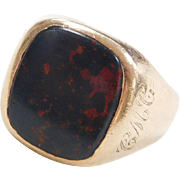 Vintage 10k Gold Men's Bloodstone Ring Personally Engraved 1978