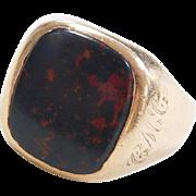 Vintage 10k Gold Men's Bloodstone Ring Personally Engraved 1978