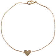 """Vintage 14k Gold Serpentine Heart Bracelet ~ 7"""""""