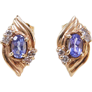 Vintage 14k Gold Iolite and Diamond Stud Earrings