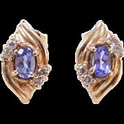 Vintage 14k Gold Iolite and Diamond Stud Earrings