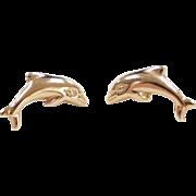 Vintage 14k Gold Dolphin Stud Earrings