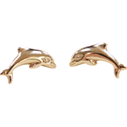 Vintage 14k Gold Dolphin Stud Earrings
