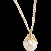 """Vintage 14k Gold Cultured Pearl Necklace ~ 15"""""""