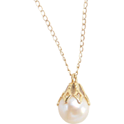 Vintage 14k Gold Cultured Pearl Necklace ~ 15""