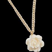 """Vintage 14k Gold Carved Flower Necklace ~ 15"""""""