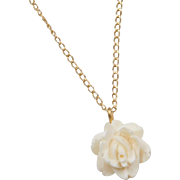 Vintage 14k Gold Carved Flower Necklace ~ 15""