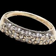 Vintage 14k Gold Two-Tone Diamond Band Ring