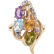 Vintage 14k Gold Two-Tone Colorful Gemstone Ring