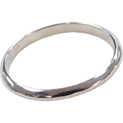 Vintage 18k White Gold Thin Band Ring