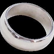Vintage Platinum Wide Wedding Band Ring