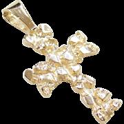 Vintage 14k Gold Nugget Cross Pendant