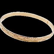 """Vintage 14k Gold Diamond Cut Bangle Bracelet ~ 8.60"""" Circumference"""