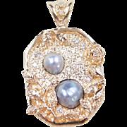 Vintage 14k Gold Big Baroque Pearl and Diamond Flower Pendant