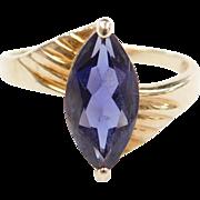 Vintage 14k Gold Iolite Marquise Ring