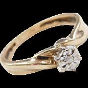 Vintage 10k Gold Illusion Set Diamond Ring