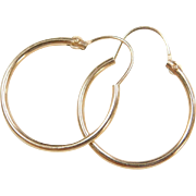 Vintage 14k Gold Thin Hoop Earrings