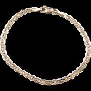 """Vintage 10k Gold Flat Marine Anchor Link Bracelet ~ 7 1/4"""""""