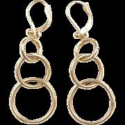 Vintage 14k Gold Long Circle Earrings